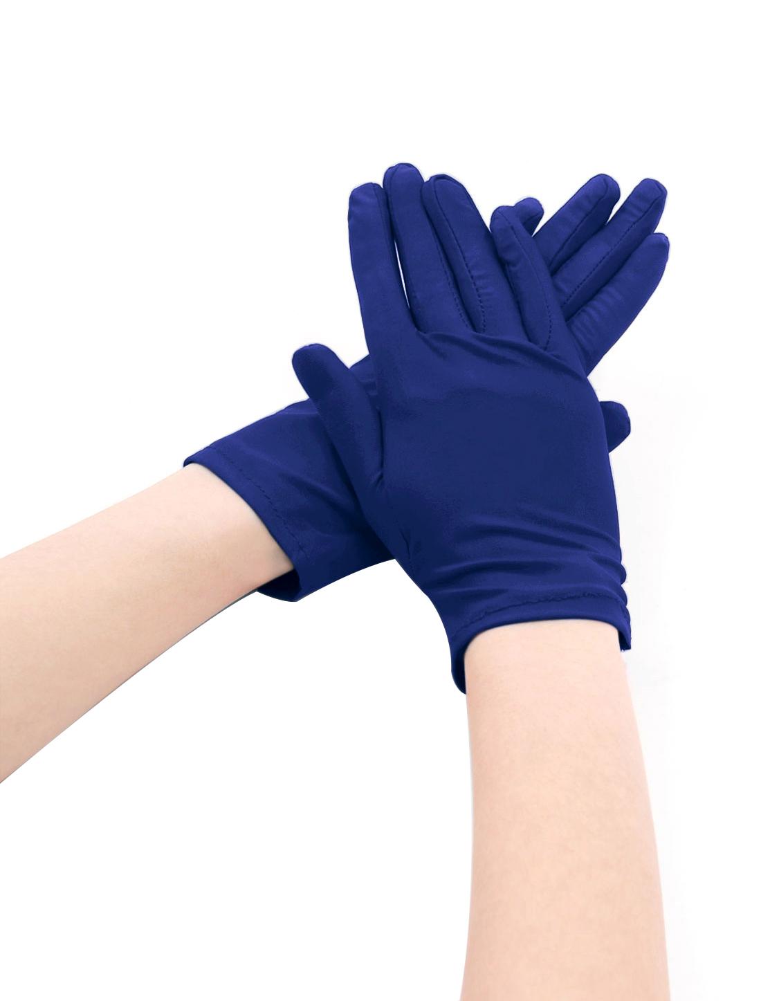 Women Wrist Length Matte Stretchy Full Finger Gloves 5 Pairs Blue