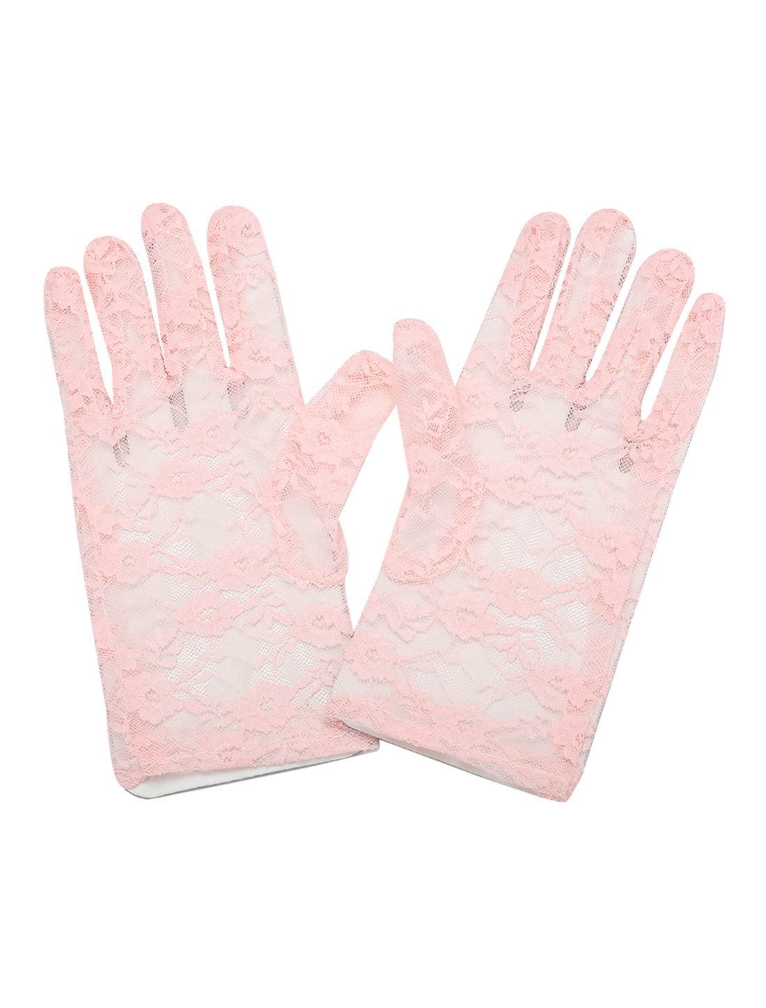 Lady Floral Lace Wrist Length Full Finger Gloves Pair Pink