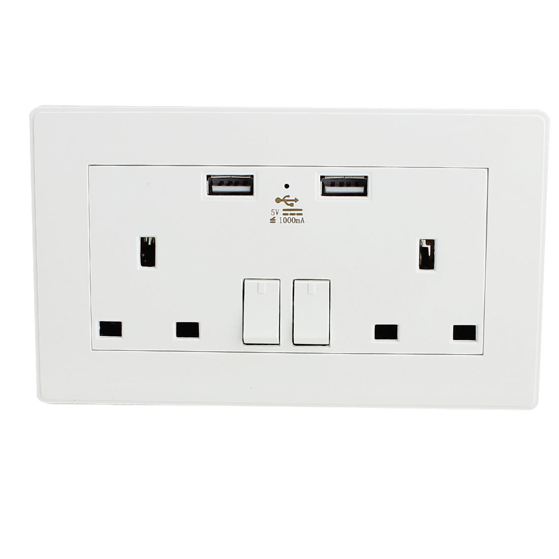 Dual AC 110V-250V UK Socket 2 USB Port 5VDC 1000mA Charger Charging Power Switch Wall Outlet