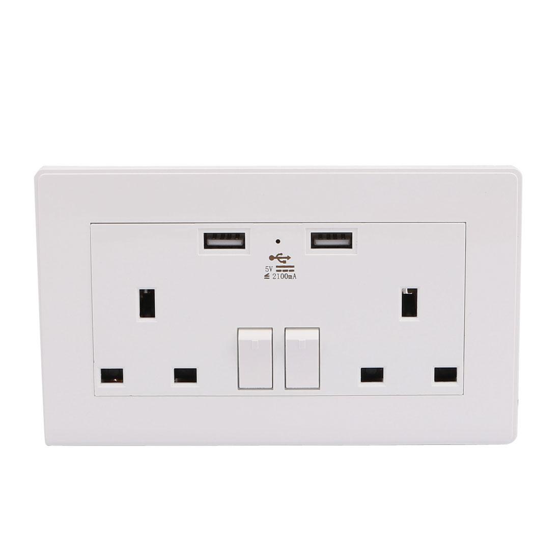 Dual AC 110V-250V UK Socket 2 USB Port 5VDC 2100mA Charger Charging Power Switch Wall Outlet