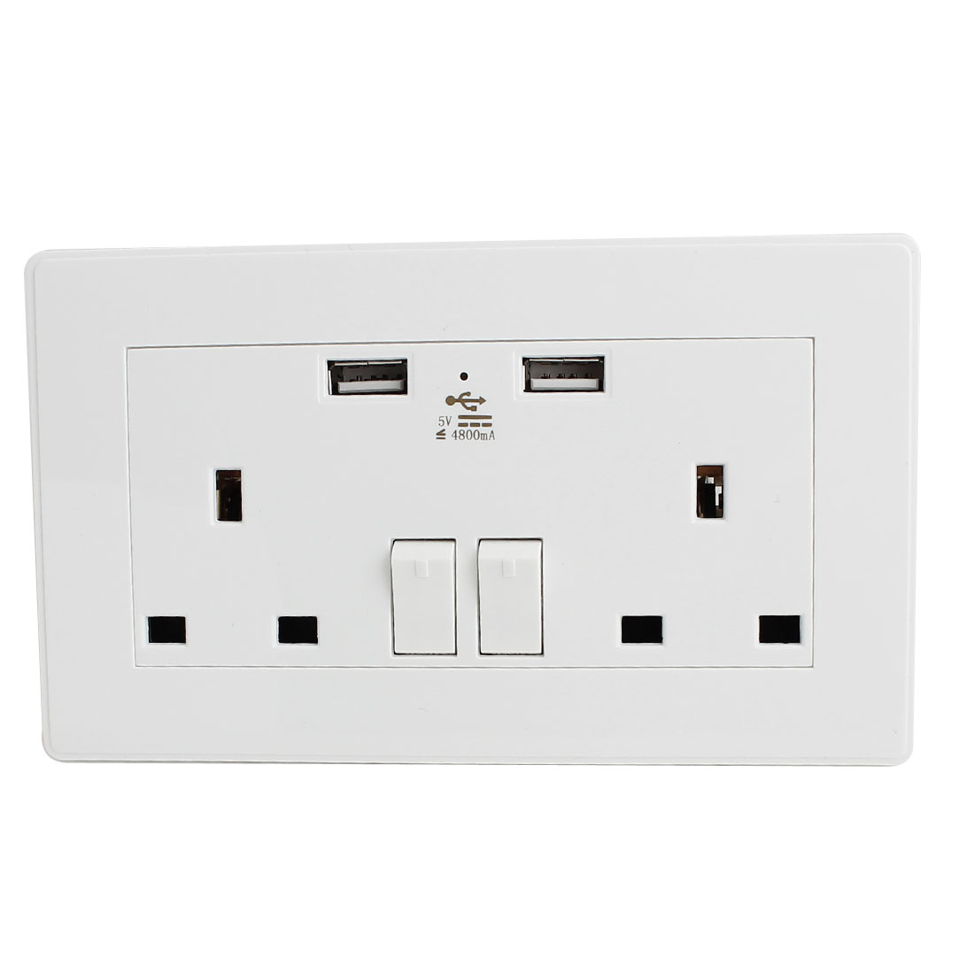 Dual AC 110V-250V UK Socket 2 USB Port 5VDC 4800mA Charger Charging Power Switch Wall Outlet