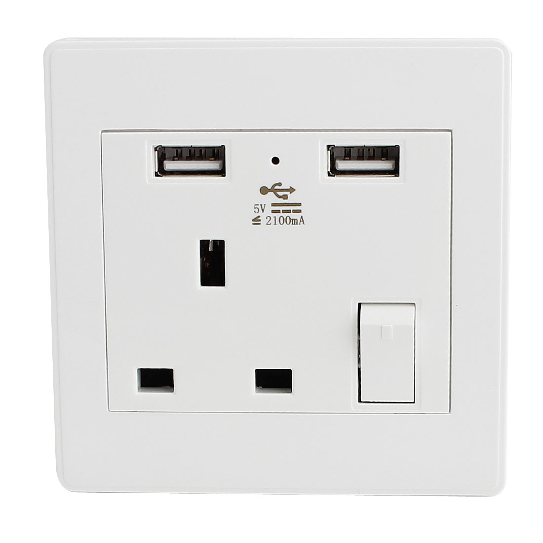 AC 110V-250V UK Socket 2 USB DC 5V 2100mA Charger Charging Power Switch Wall Outlet