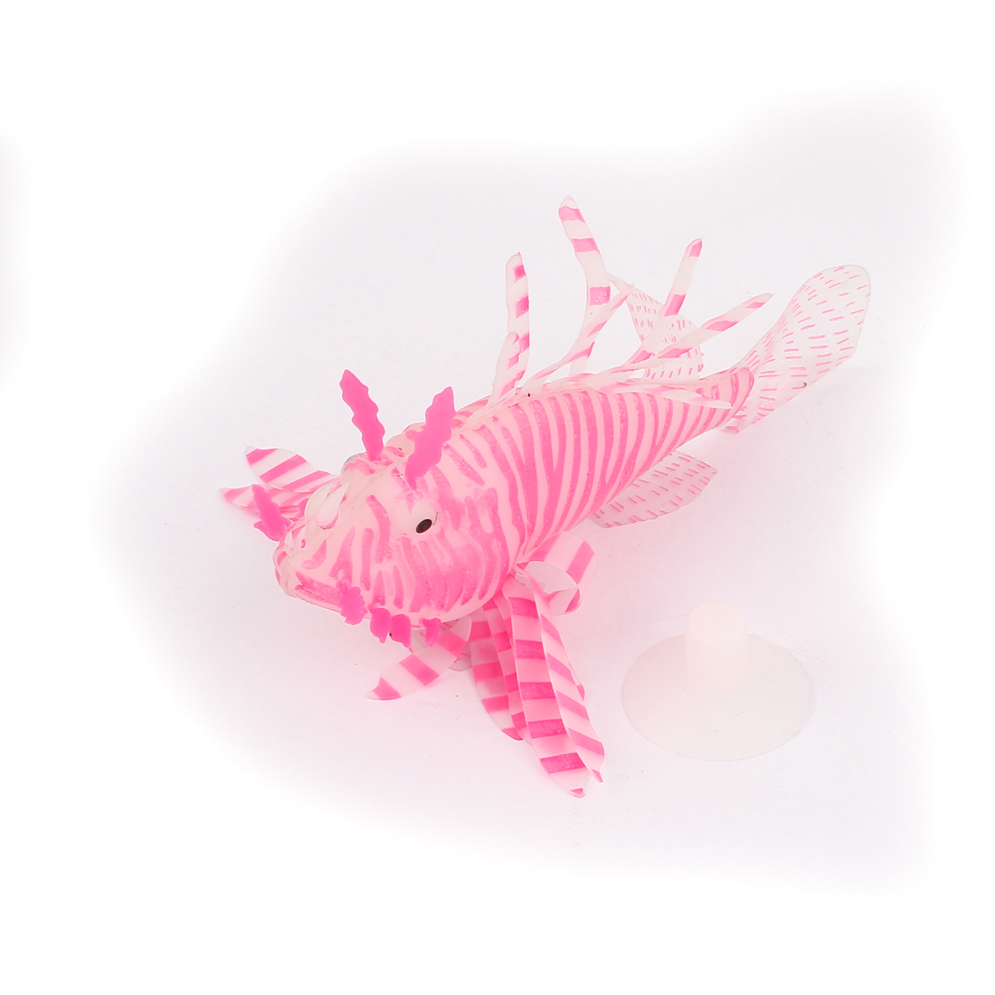 Aquarium Fish Tank Silicone Stripes Pattern Artificial Lionfish Ornament White Pink