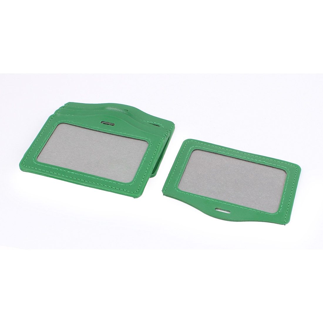 5pcs Green Faux Leather School Office Horizontal Business ID Badge Card Holder Container