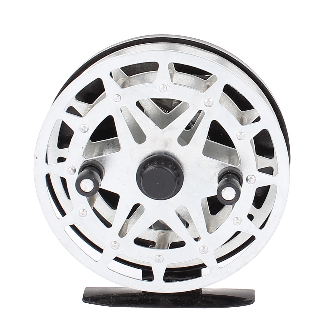 Fish Metal Fishing Line Thread Winding Coiling Spare Spool Spinning Winder Reel Black Silver Tone
