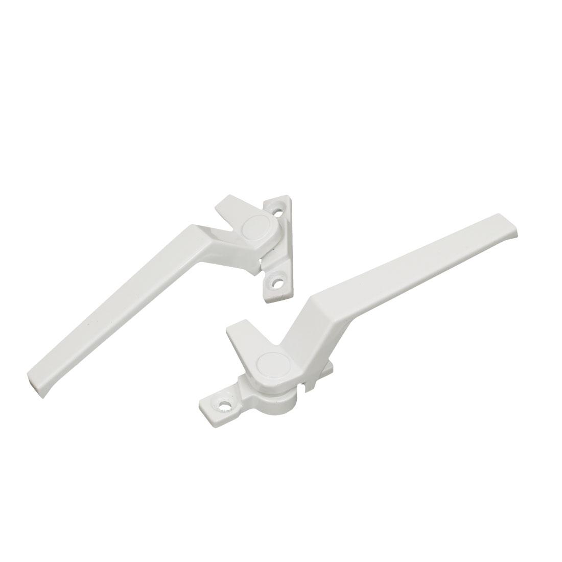 Right Left Hand Metal Casement Cabinet Door Window Locking Handles Grips White 2pcs