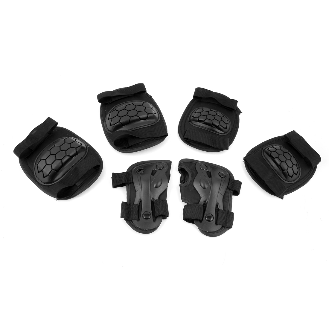 Skiing Skating Elbow Palm Knee Support Guard Pad Protector Set Black 6 in 1
