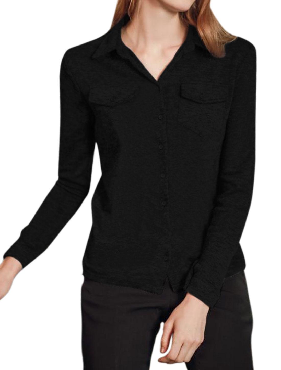 Women Flap Chest Pockets Button Closure High Low Top Black S