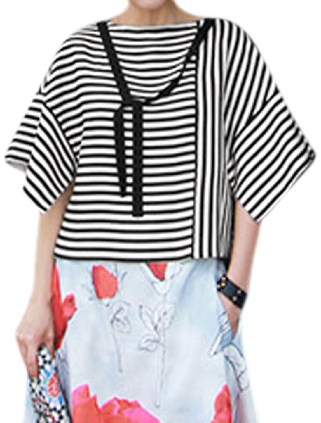 Women Half Sleeves Split Design Self Tie Decor Boxy Striped Top Black XS
