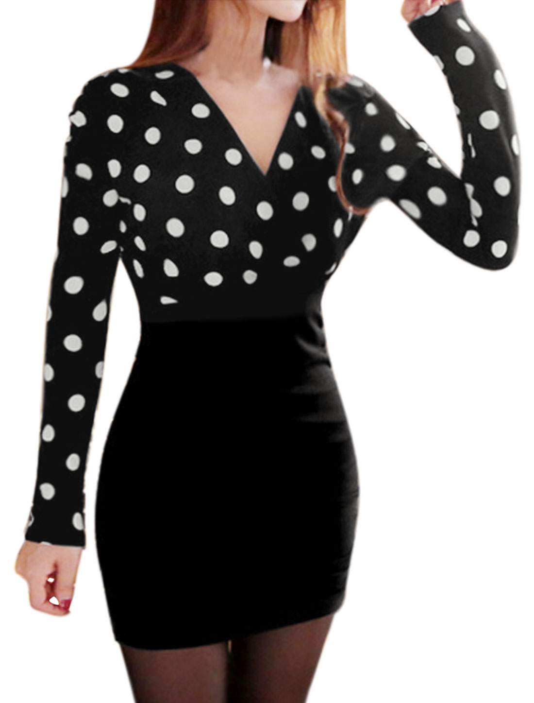 Lady Crossover V Neck Dots Print Paneled Ruched Bodycon Dress Black S