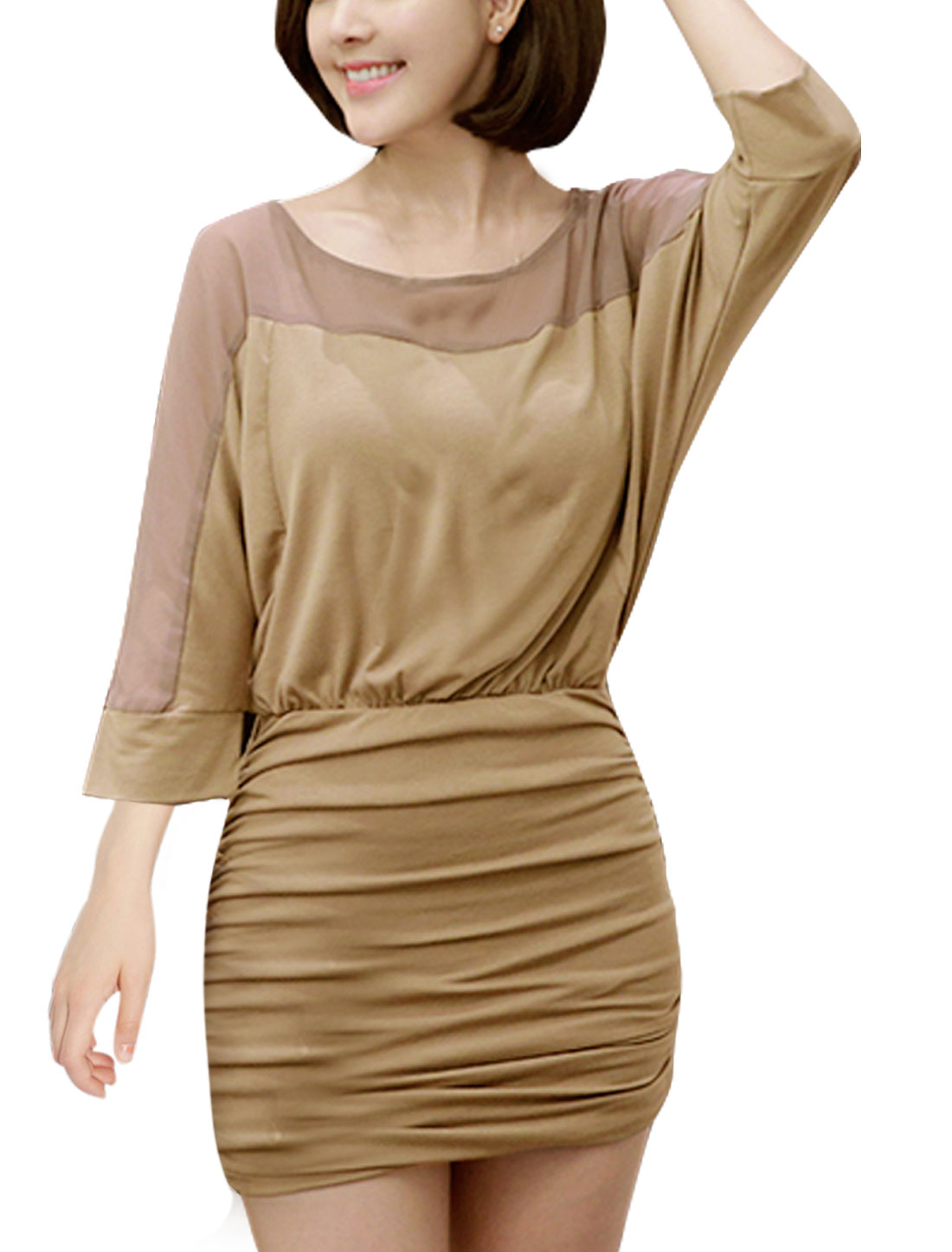 Women 3/4 Batwing Sleeves Paneled Mini Ruched Dress Brown S