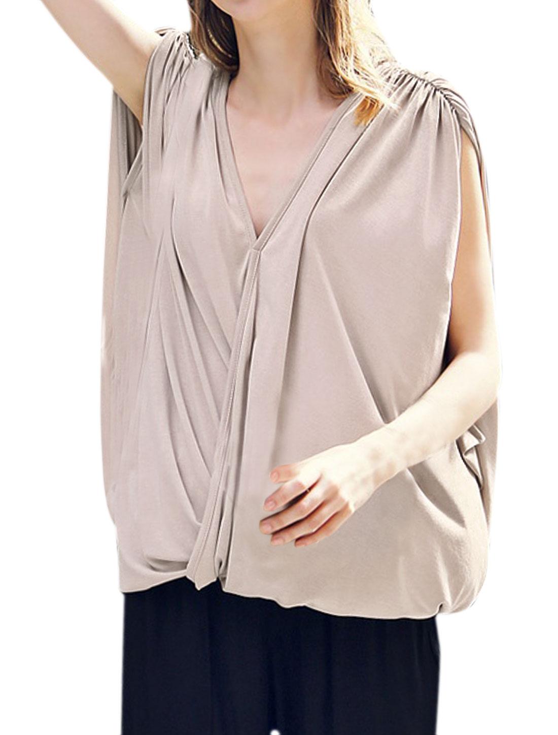 Women Sleeveless V Neckline Shirred Shoulder Wrap Loose Blouse Beige S