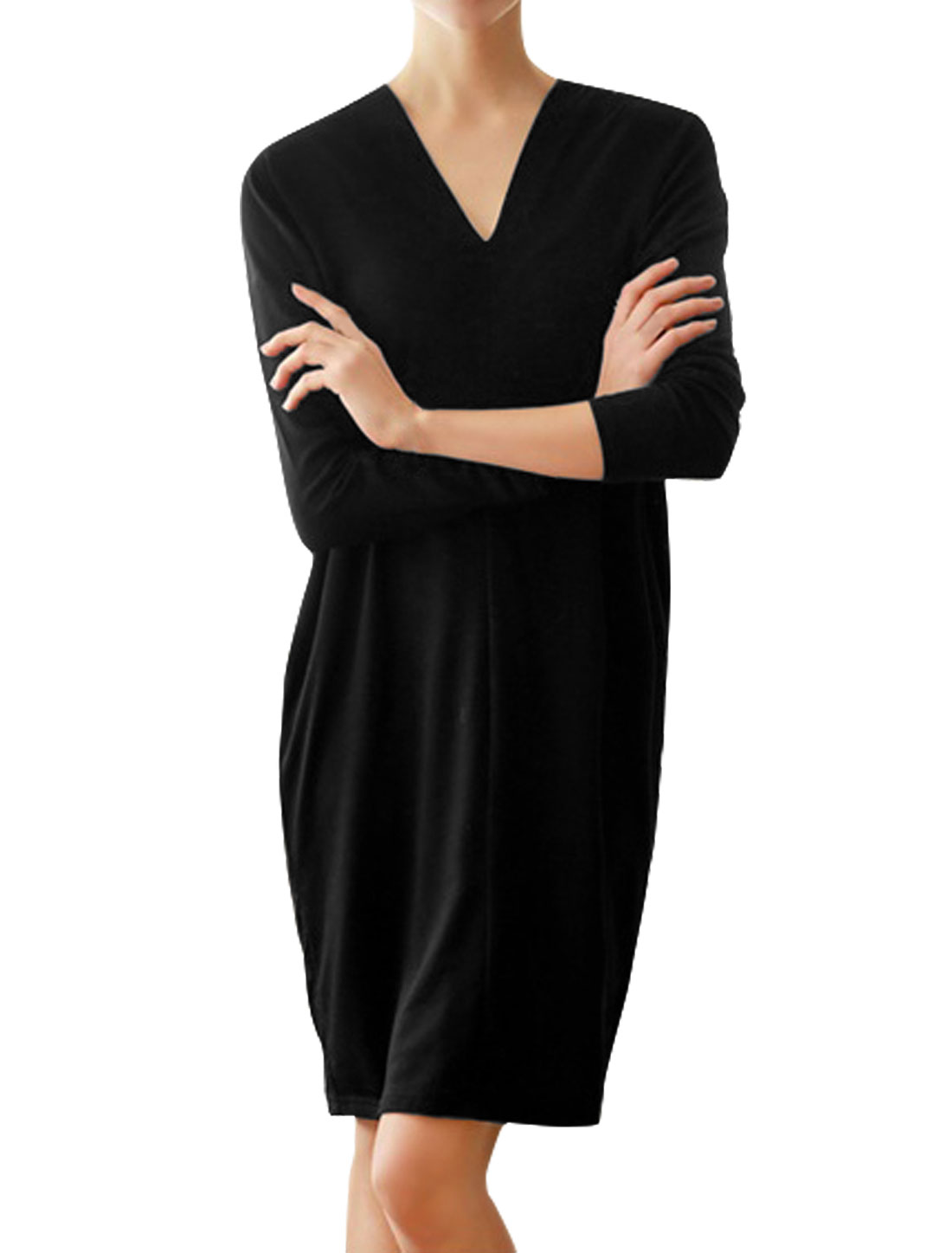 Women V Neck Dolman Sleeves Drop Shoulder Straight Tunic Dress Black XS