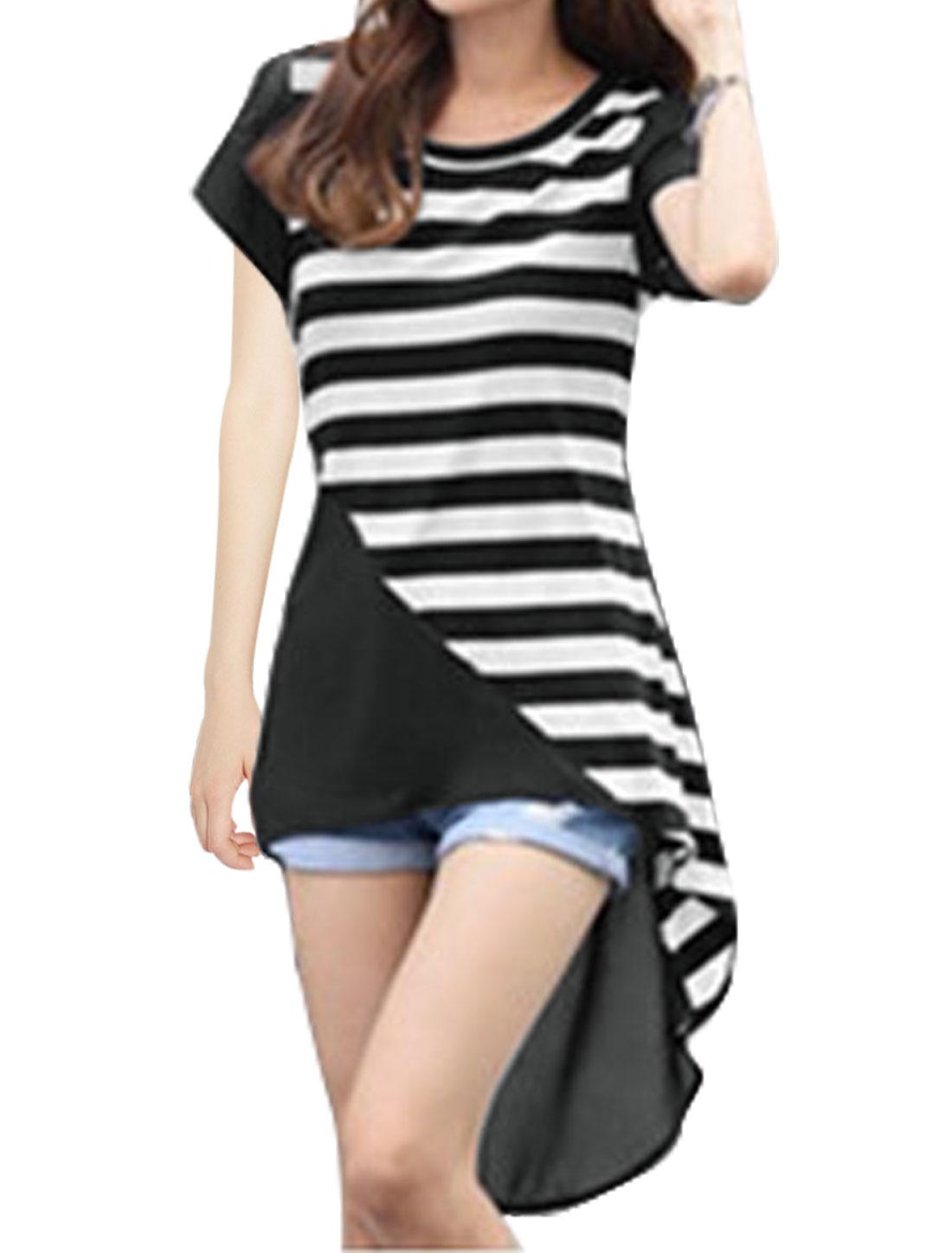 Women Lace Up Back Chiffon Semi Sheer High Low Tunic Striped Top Black XS