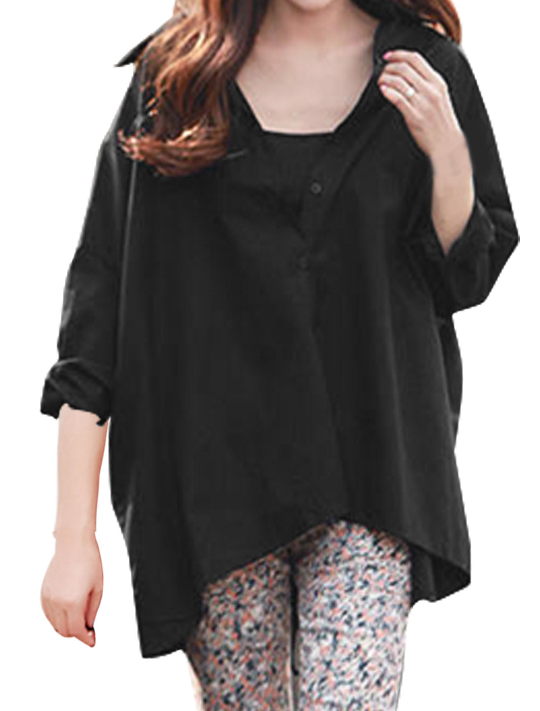 Women Lace Up Back Batwing Sleeves Loose Tunic Blouse Black XS