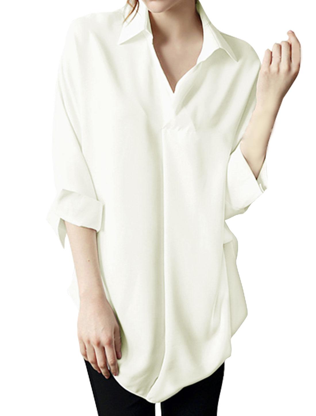 Women 3/4 Batwing Sleeves High Low Hem Loose Tunic Blouse White S