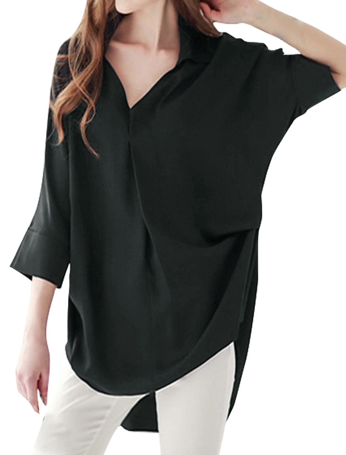 Women 3/4 Batwing Sleeves High Low Hem Loose Tunic Blouse Black S