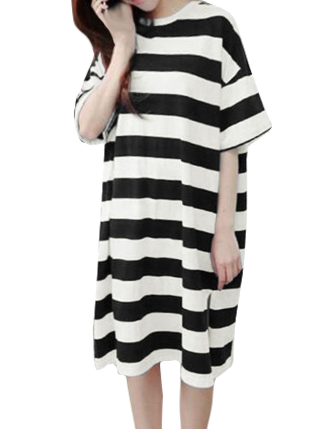 Women Half Sleeves Split Sides Striped Loose Tunic T-Shirt Black XS
