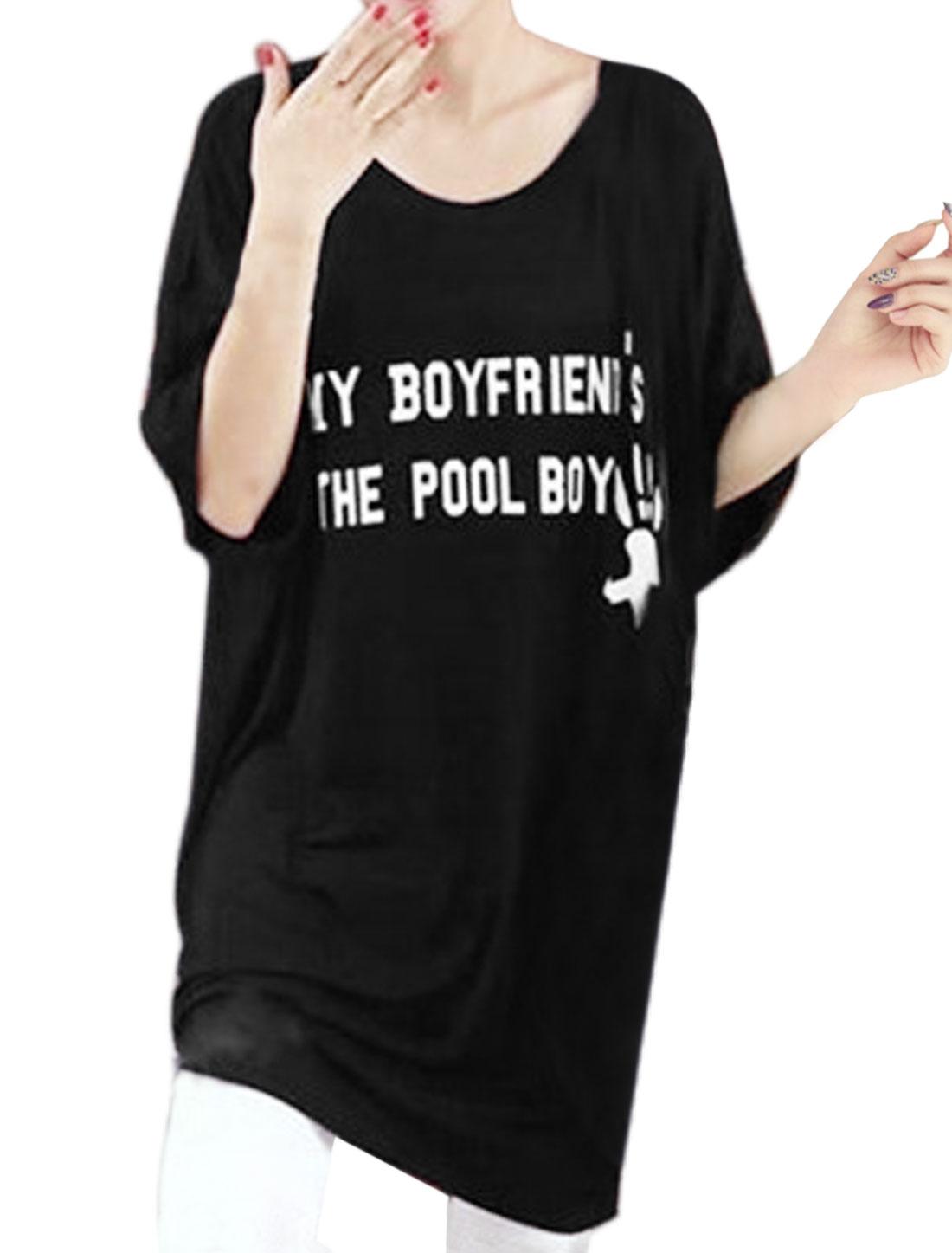 Women Drop Shoulder Letters Hands Loose Tunic Tee Shirt Black XSB
