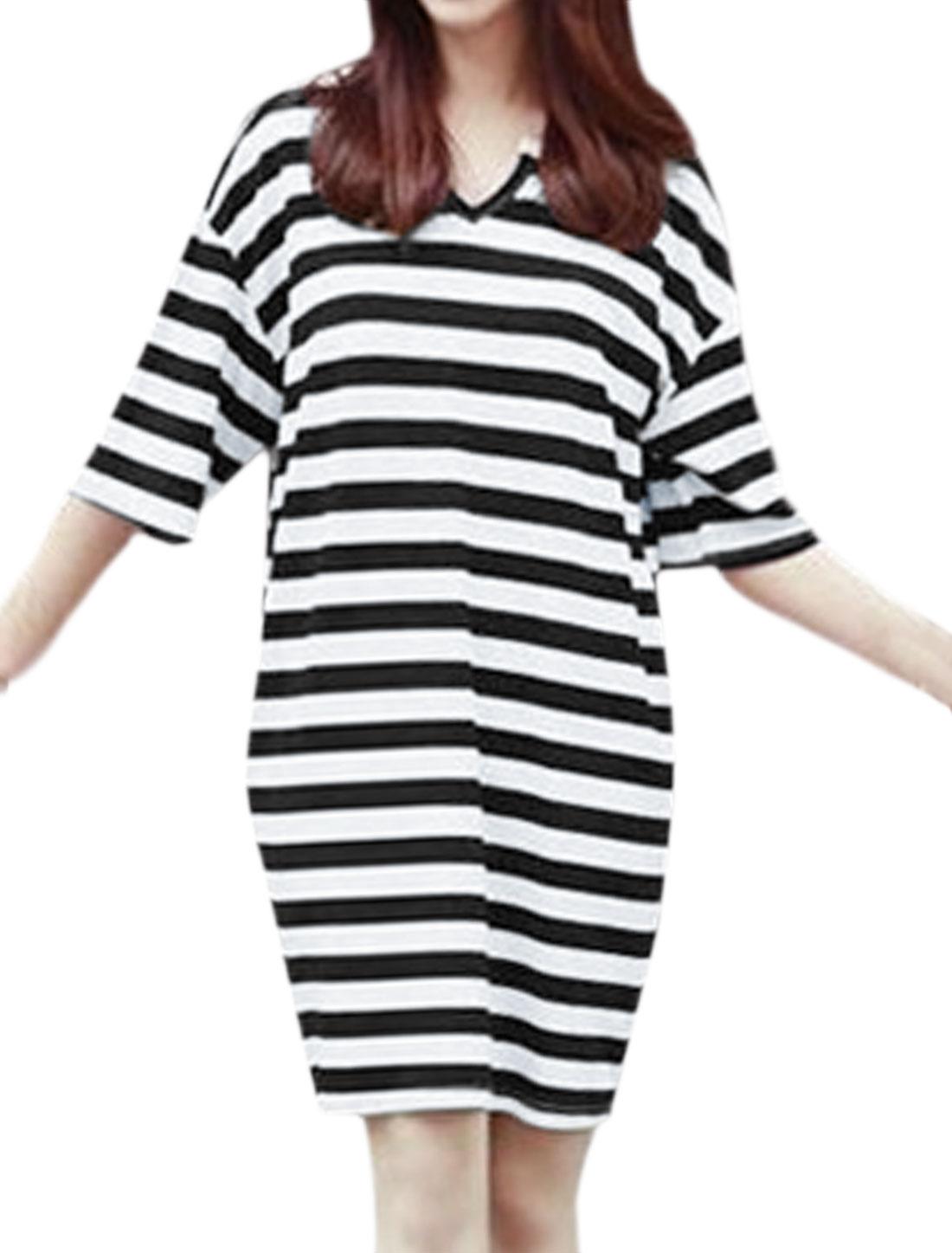 Women Split Neck Drop Shoulder Stripes Loose Tunic Dress Black XS