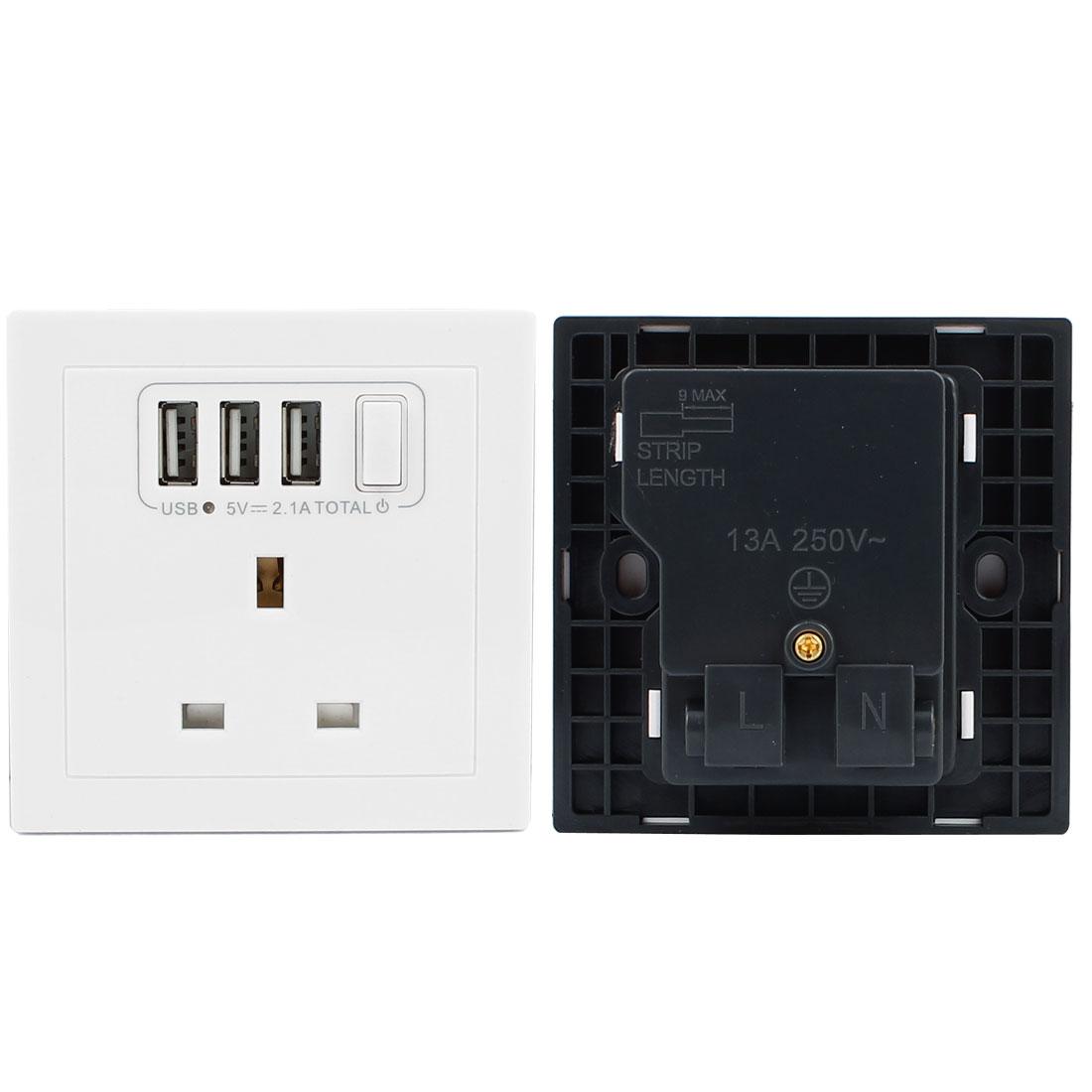 AC 110V-250V UK Socket 3 USB Outlet DC 5V 2100mA Charging Mains Power Wall Plate