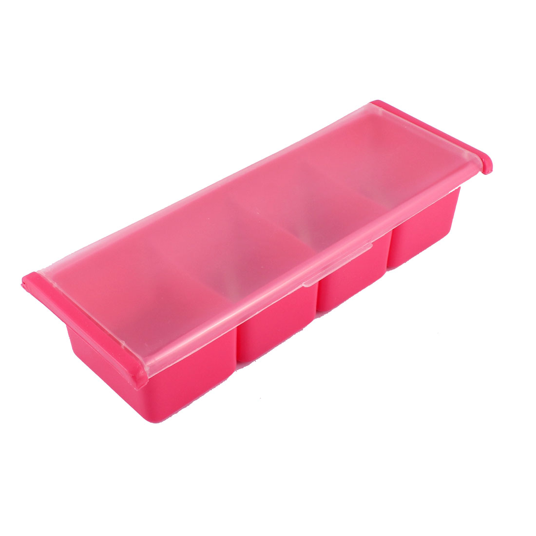 Bar Kitchen 4 Compartments Condiment Holder Container Dispenser Tray Red