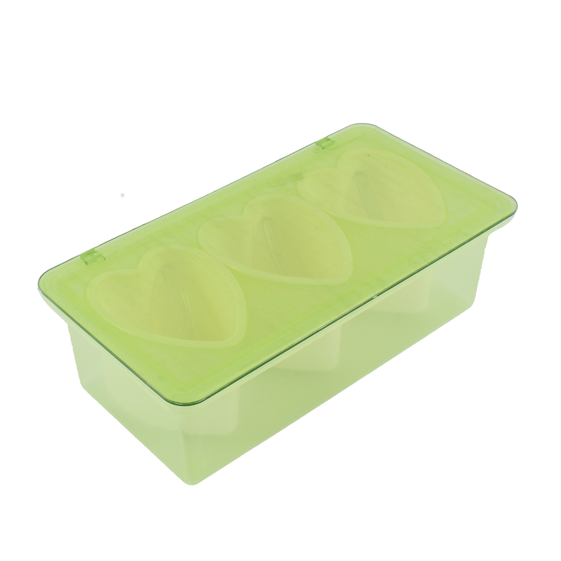 Heart Shape 3 Compartments Condiment Holder Container Dispenser Tray Green