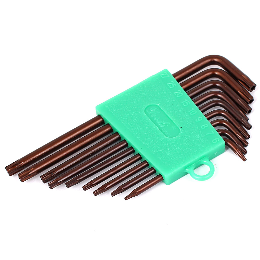 T6-T27 L Style S2 Security Torx Key Wrench Spanner Tools Brown 9 in 1