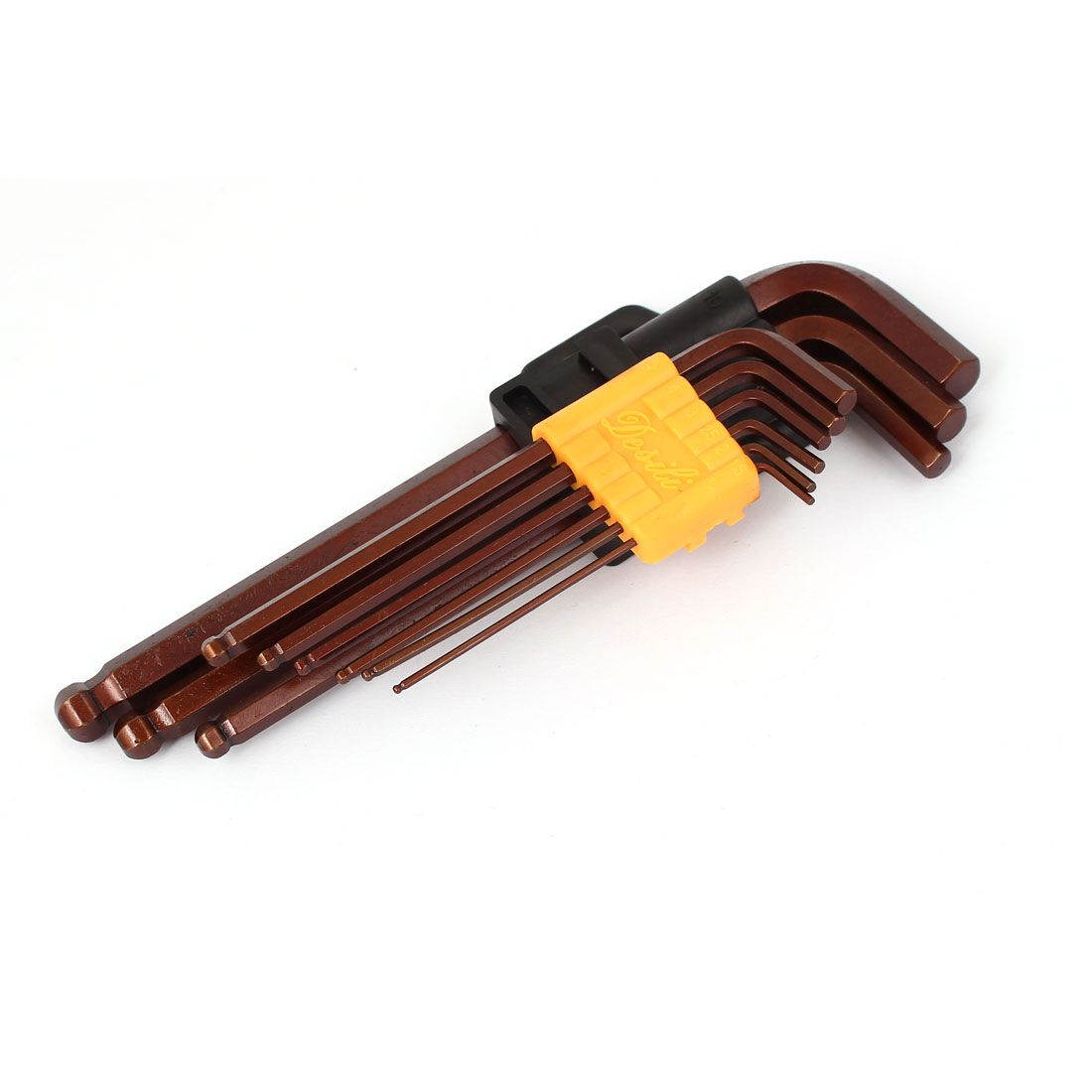 1.5mm-10mm Ball End L Style S2 Hex Spanner Wrench Tools Brown 9 in 1