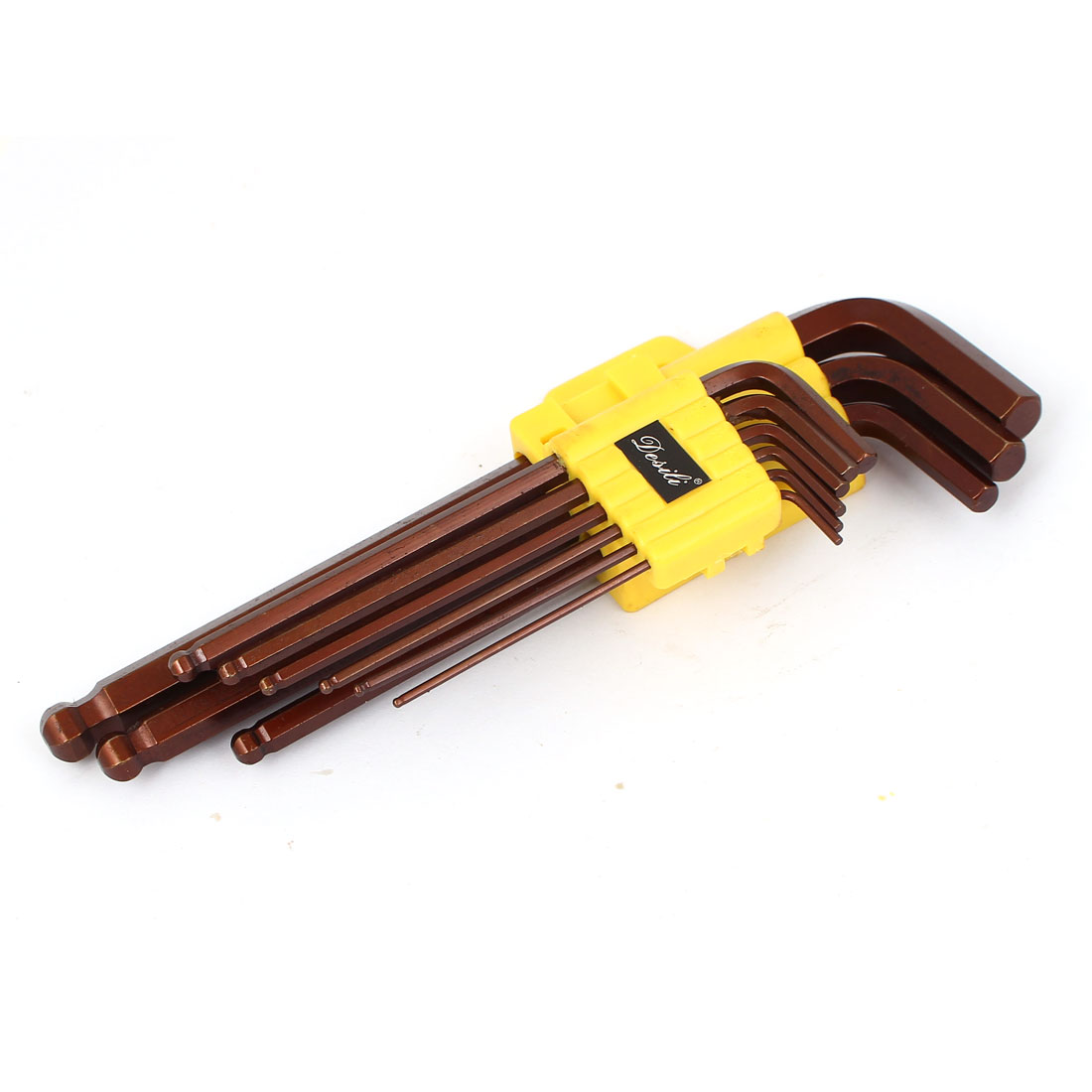 1.5mm-10mm Ball Driver L Design S2 Hex Wrench Key Set Brown 9 in 1