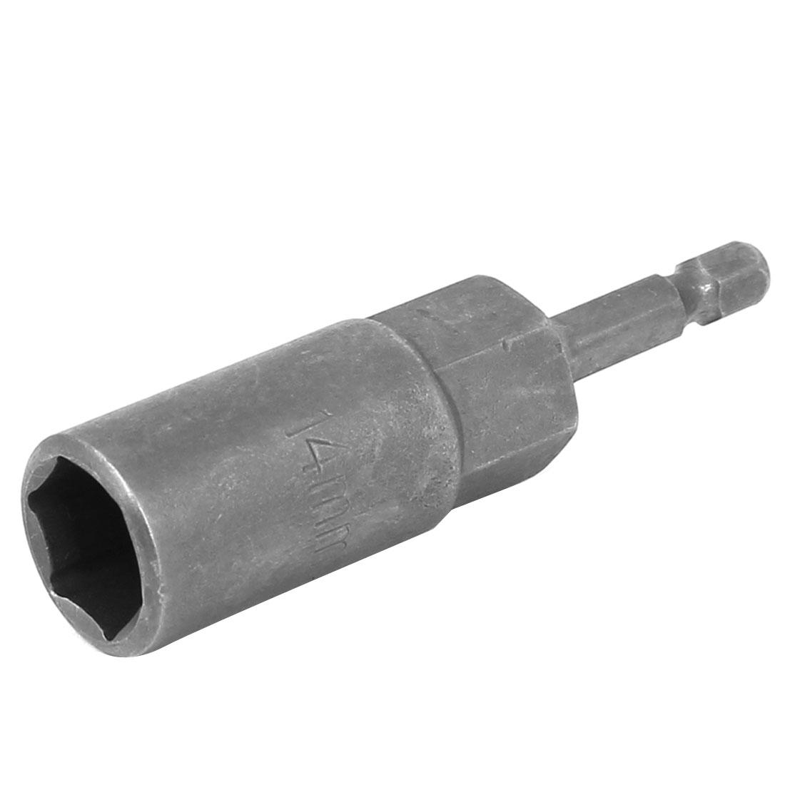 "H14 80mm Long 1/4"" Shank 14mm Hex Socket Impact Nut Setter Driver Bit Adapter"