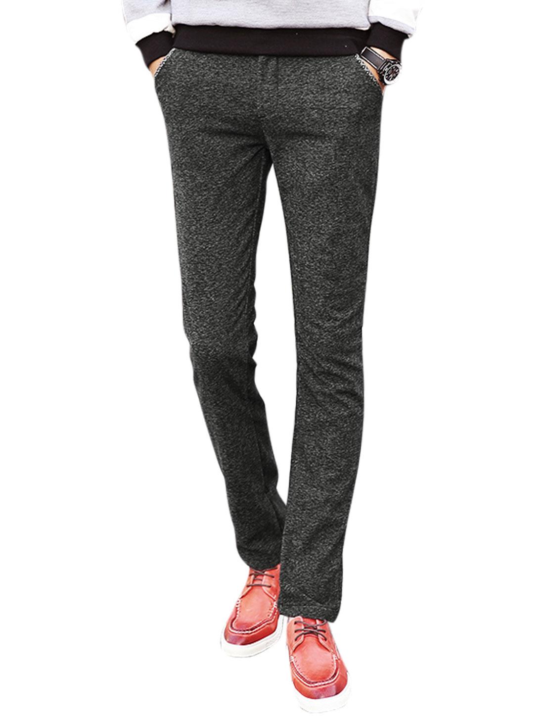 Men Novelty Stitched Multi Pockets Straight Leg Pants Gray W32