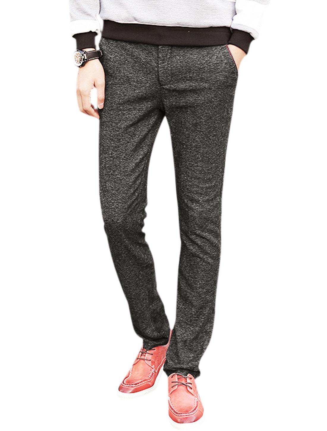 Men Zip Fly Striped Waist Straight Leg Slim Fit Trousers Black W32