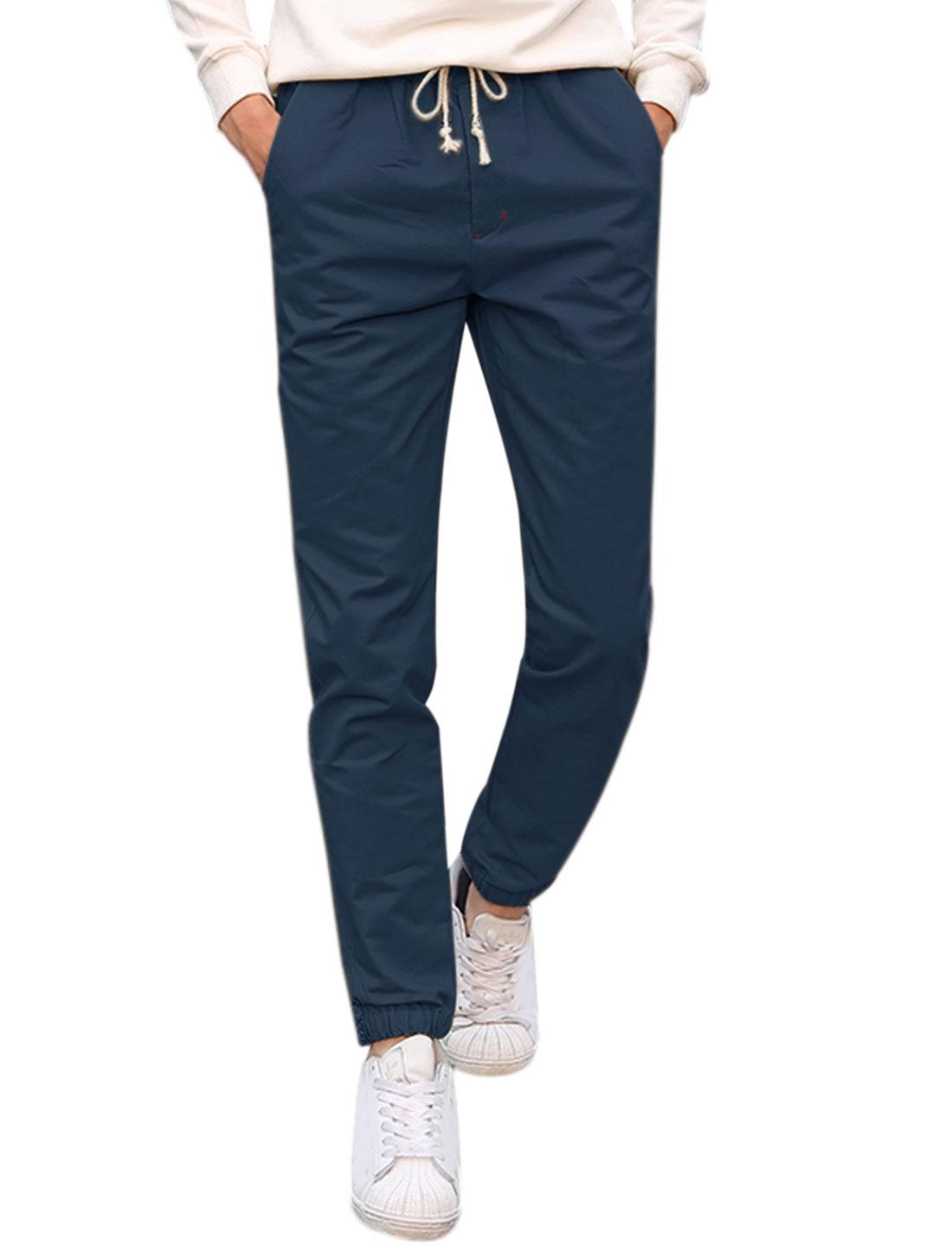 Man Side Pockets Slim Fit Straight Leg Elastic Drawstring Pants Blue W32