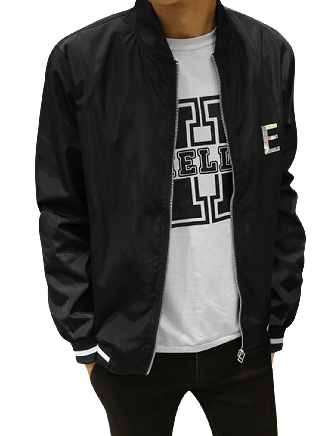 Man Stripes Stand Collar Zip Up Slim Fit Letters Jacket Black S