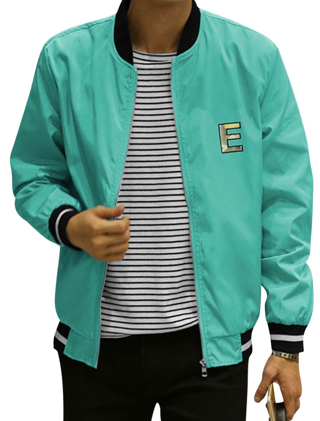 Man Stripes Stand Collar Zip Up Slim Fit Letters Jacket Light Blue S