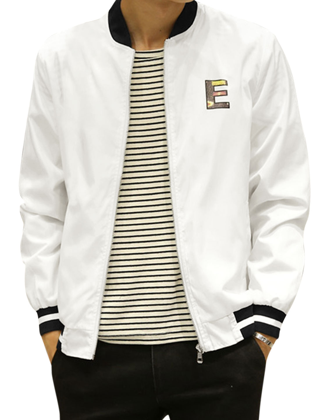 Man Stripes Stand Collar Zip Up Slim Fit Letters Jacket White S