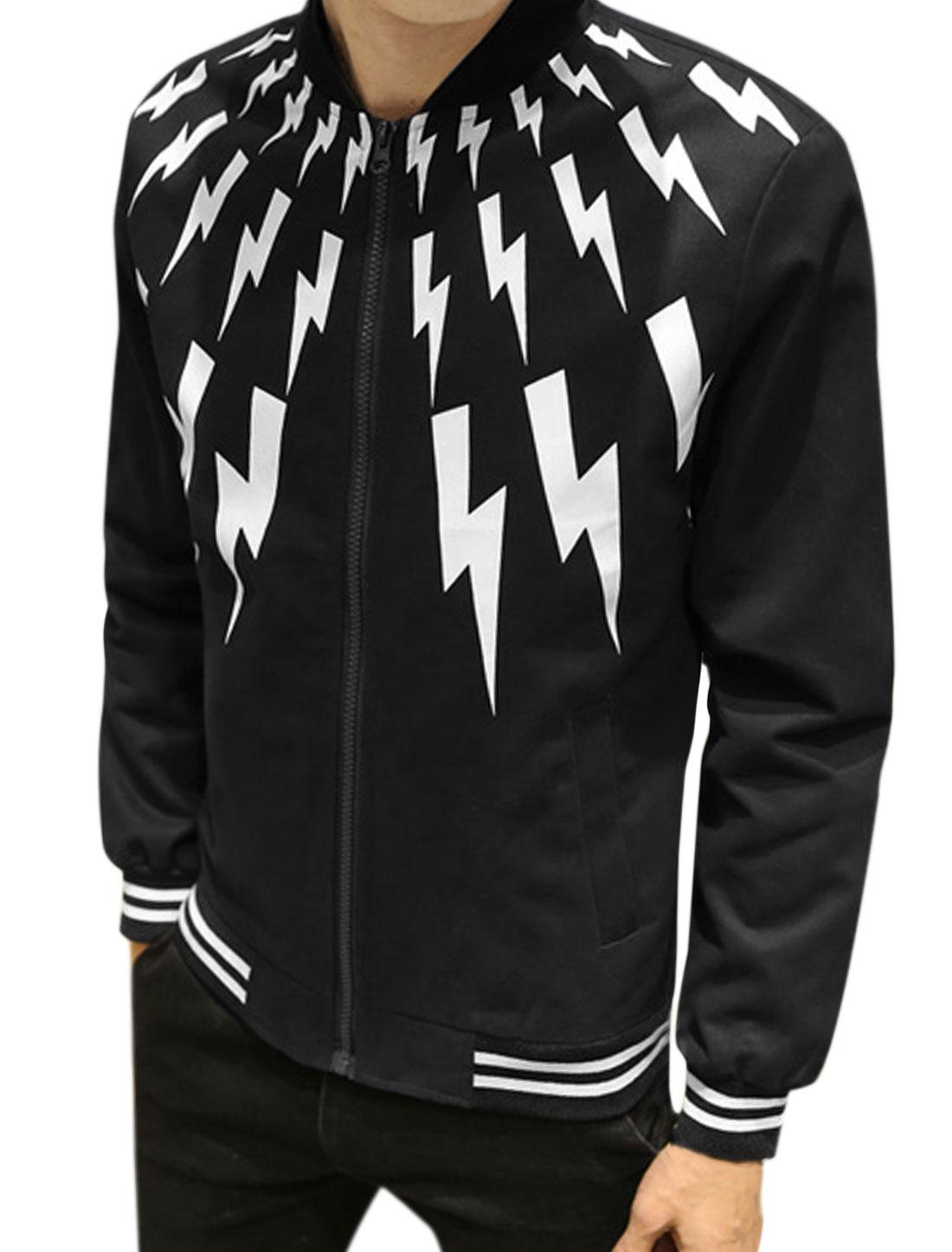 Men Zip Up Slant Pockets Stripes Lightning Jacket Black S