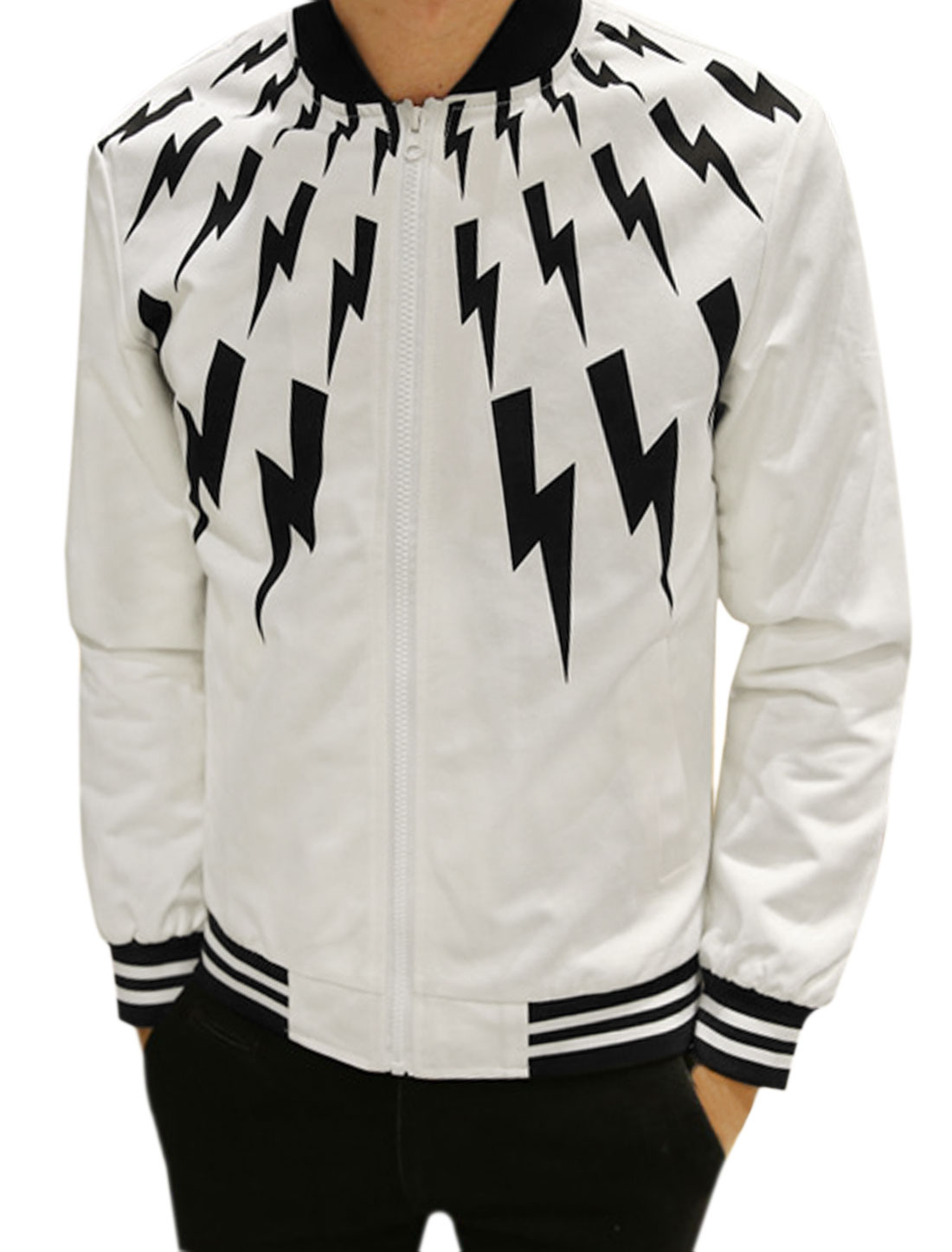 Men Zip Up Slant Pockets Stripes Lightning Jacket White S