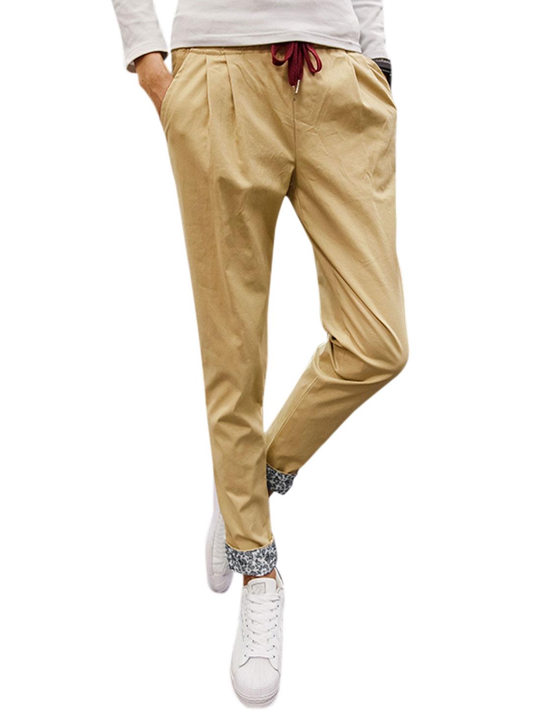 Men Side Pockets Tapered Slim Fit Elastic Drawstring Trousers Beige W34