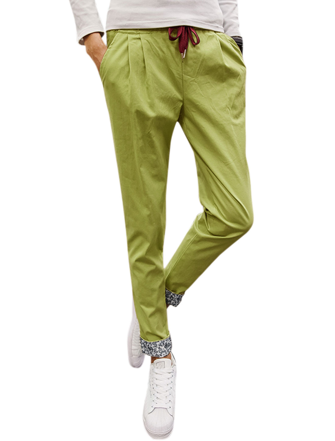 Men Side Pockets Tapered Slim Fit Elastic Drawstring Trousers Green W34