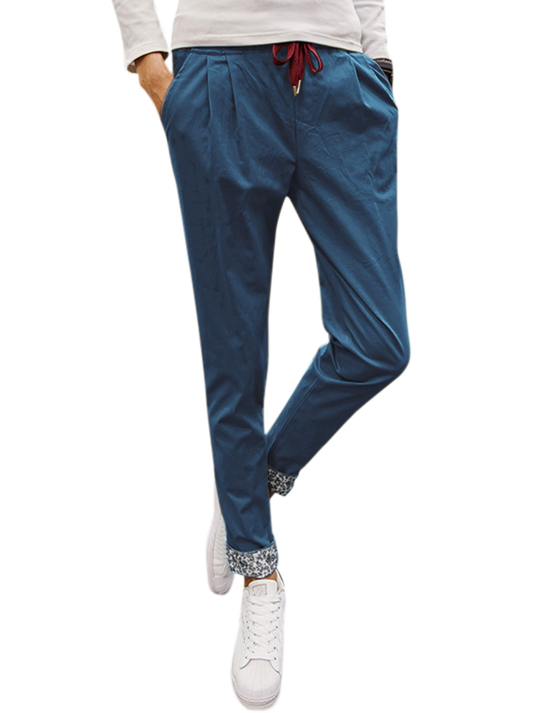 Man Side pockets Tapered Slim Fit Elastic Drawstring Pants Navy Blue W34