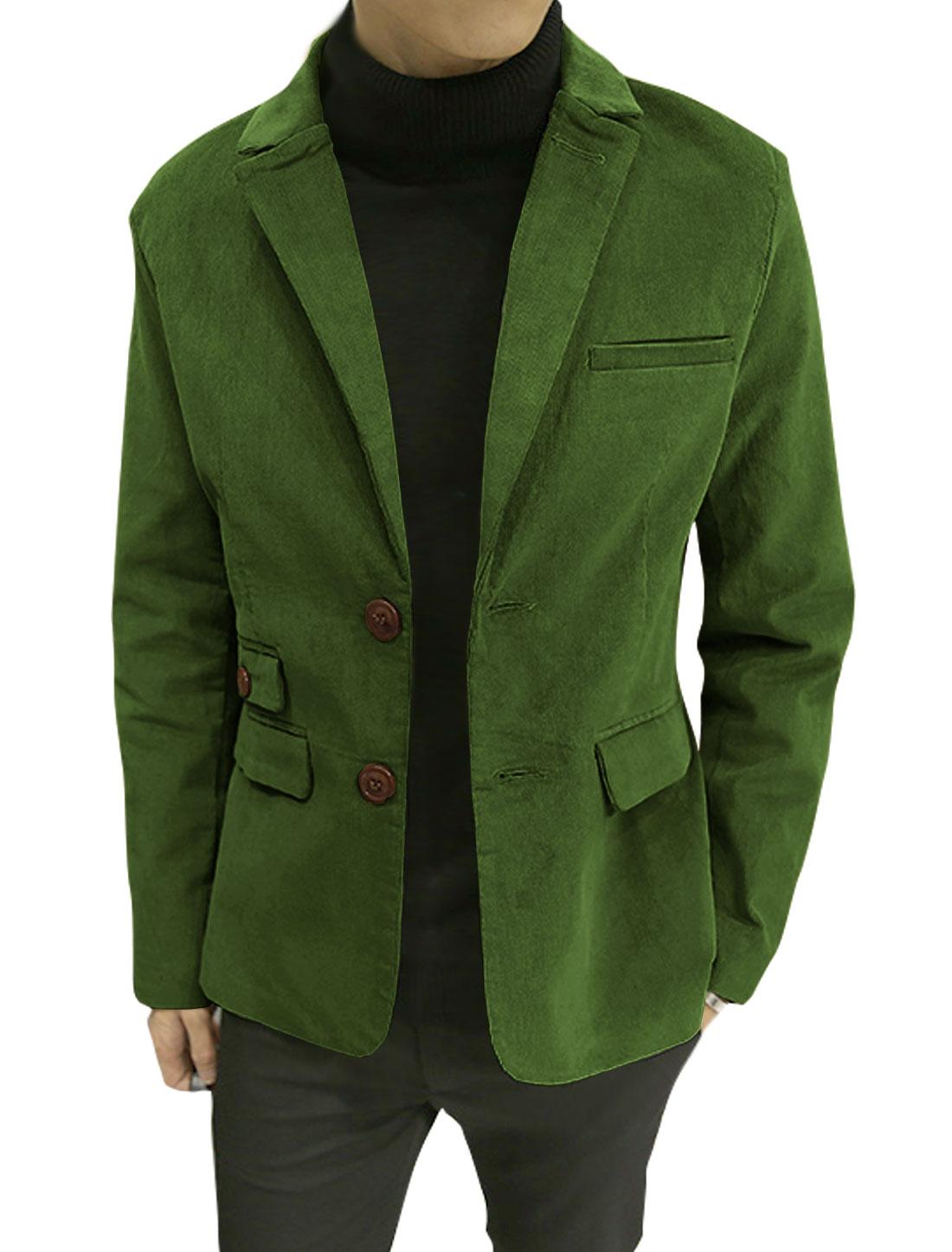Men Notched Lapel Multi Pockets Split Sides Corduroy Blazer Jacket Green S
