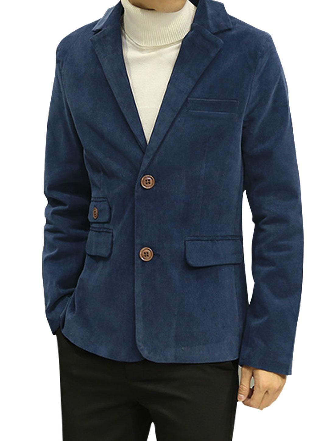 Men Notched Lapel Multi Pockets Split Sides Corduroy Blazer Jacket Blue S
