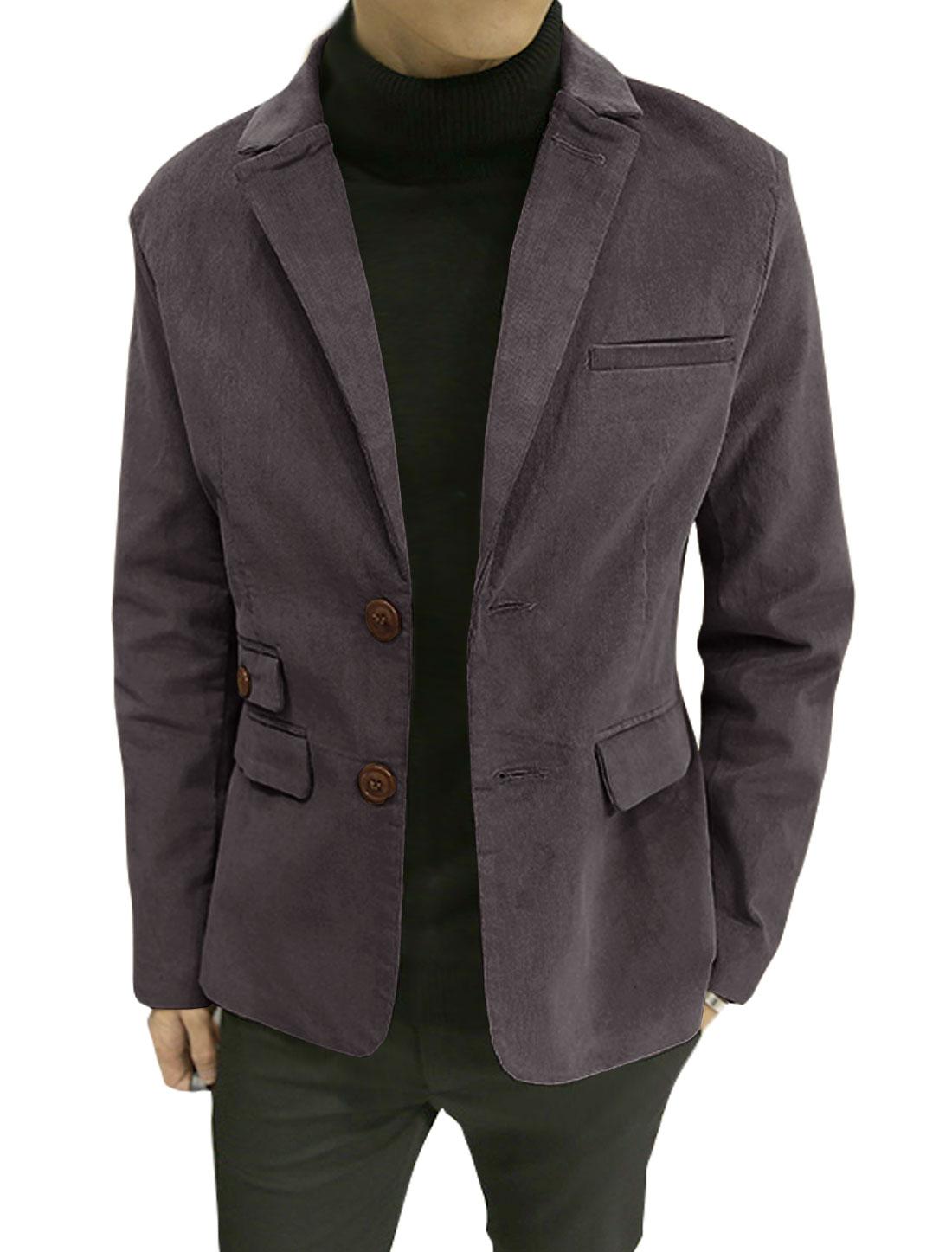 Men Notched Lapel Multi Pockets Split Sides Corduroy Blazer Jacket Purple S