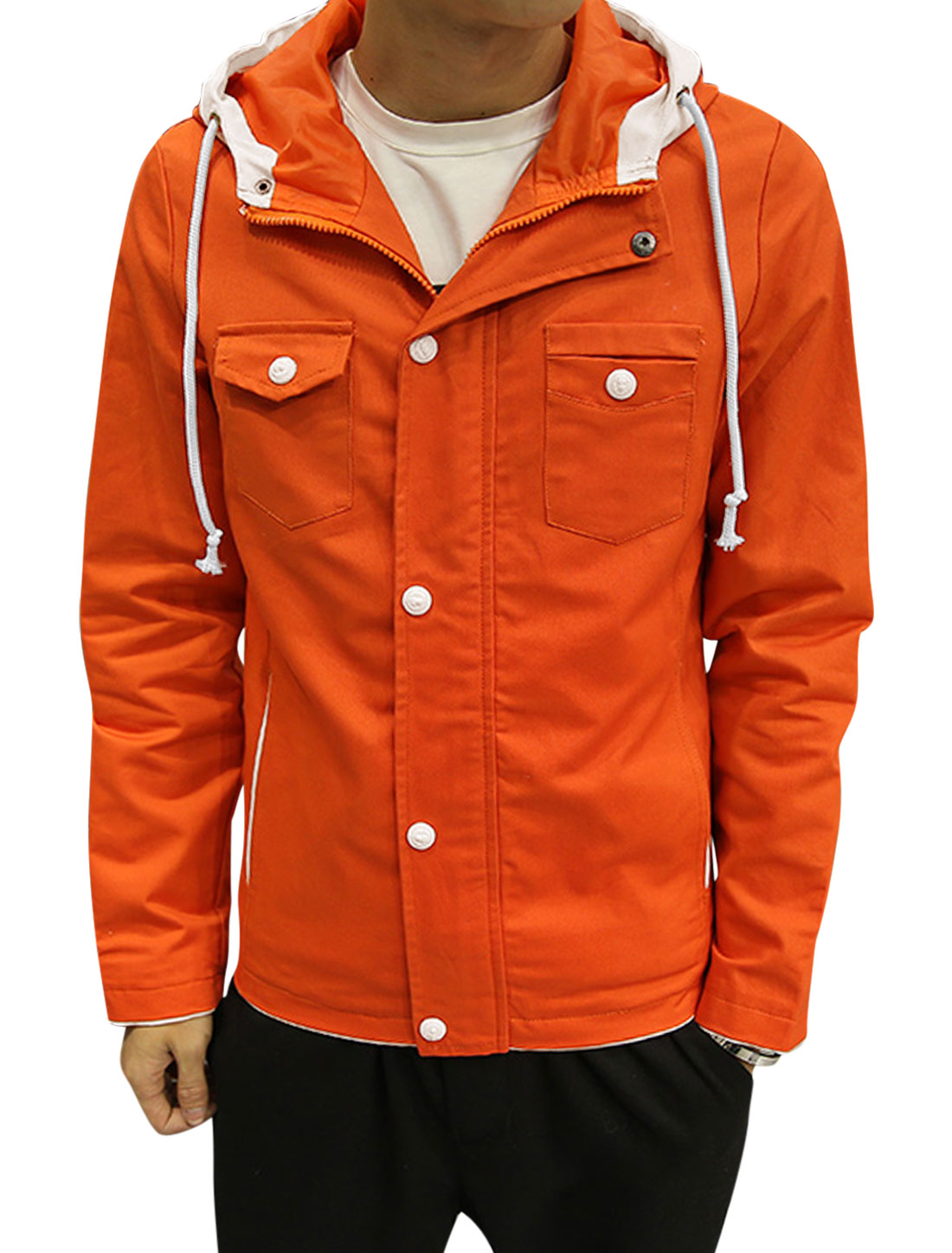 Man Buttoned Contrast Color Slim Fit Drawstring Hooded Jacket Orange S