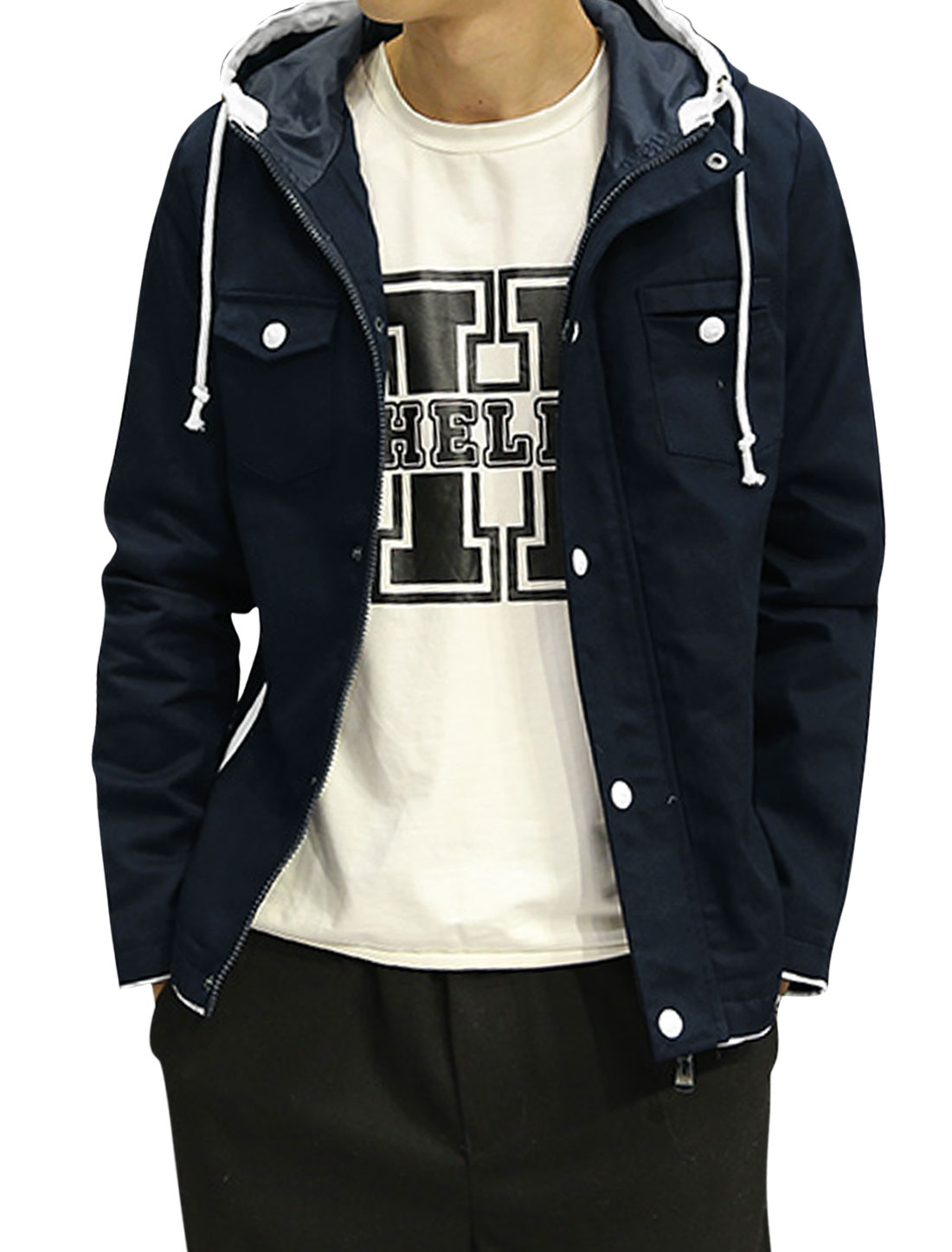 Man Buttoned Contrast Color Slim Fit Drawstring Hooded Jacket Blue S