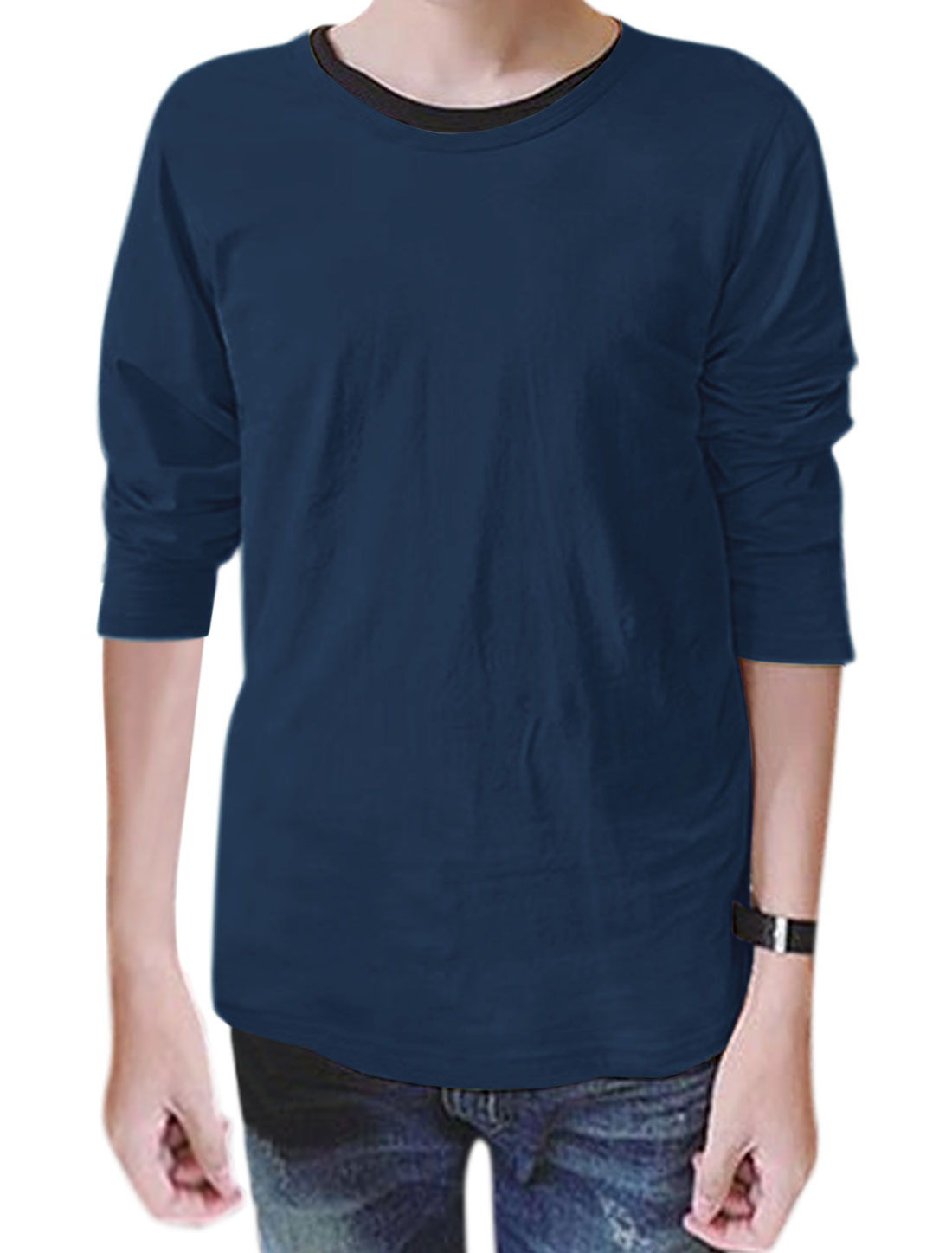 Men Round Neck Long Sleeves Slim Fit T-Shirt Navy Blue M