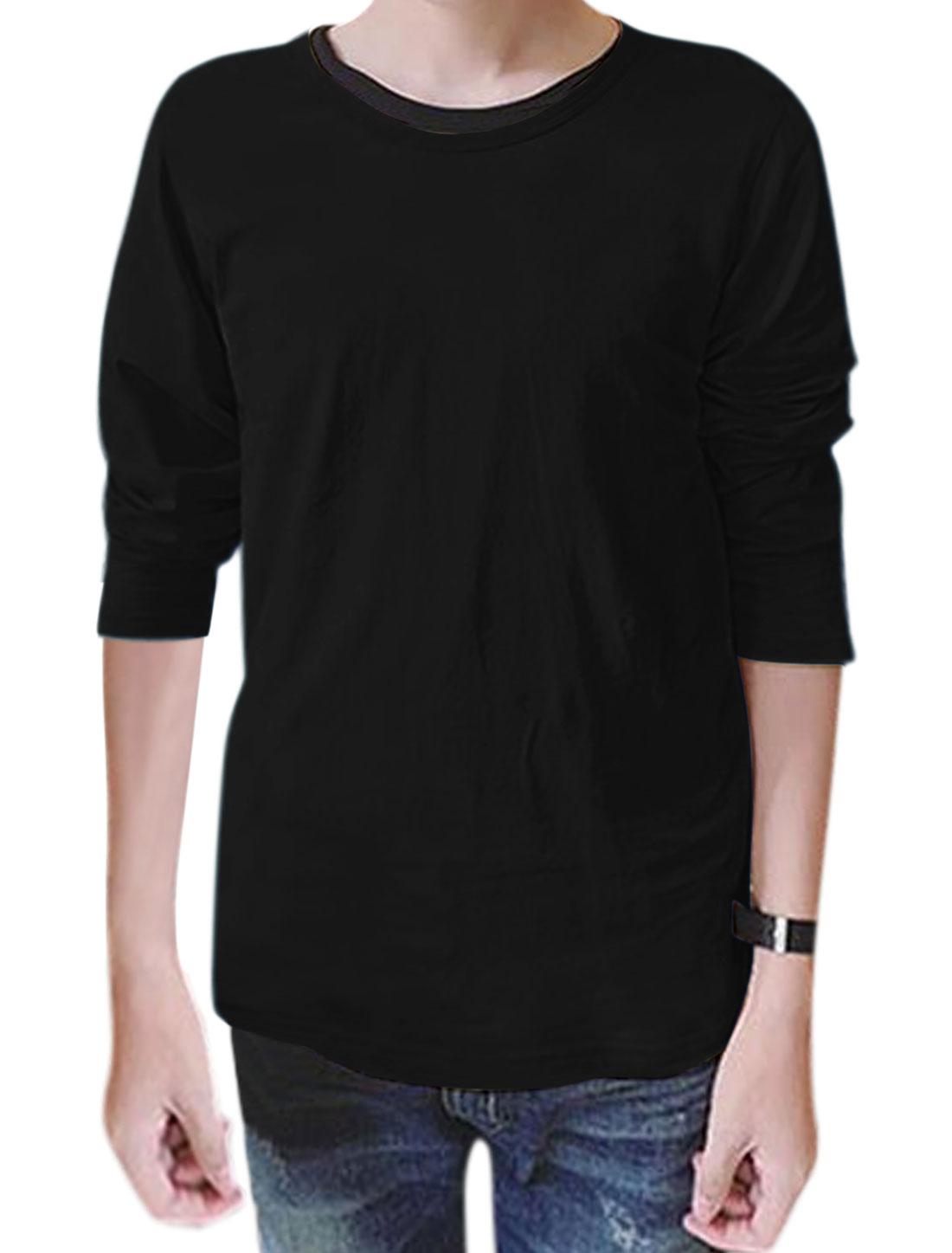 Men Round Neck Long Sleeves Slim Fit T-Shirt Black M