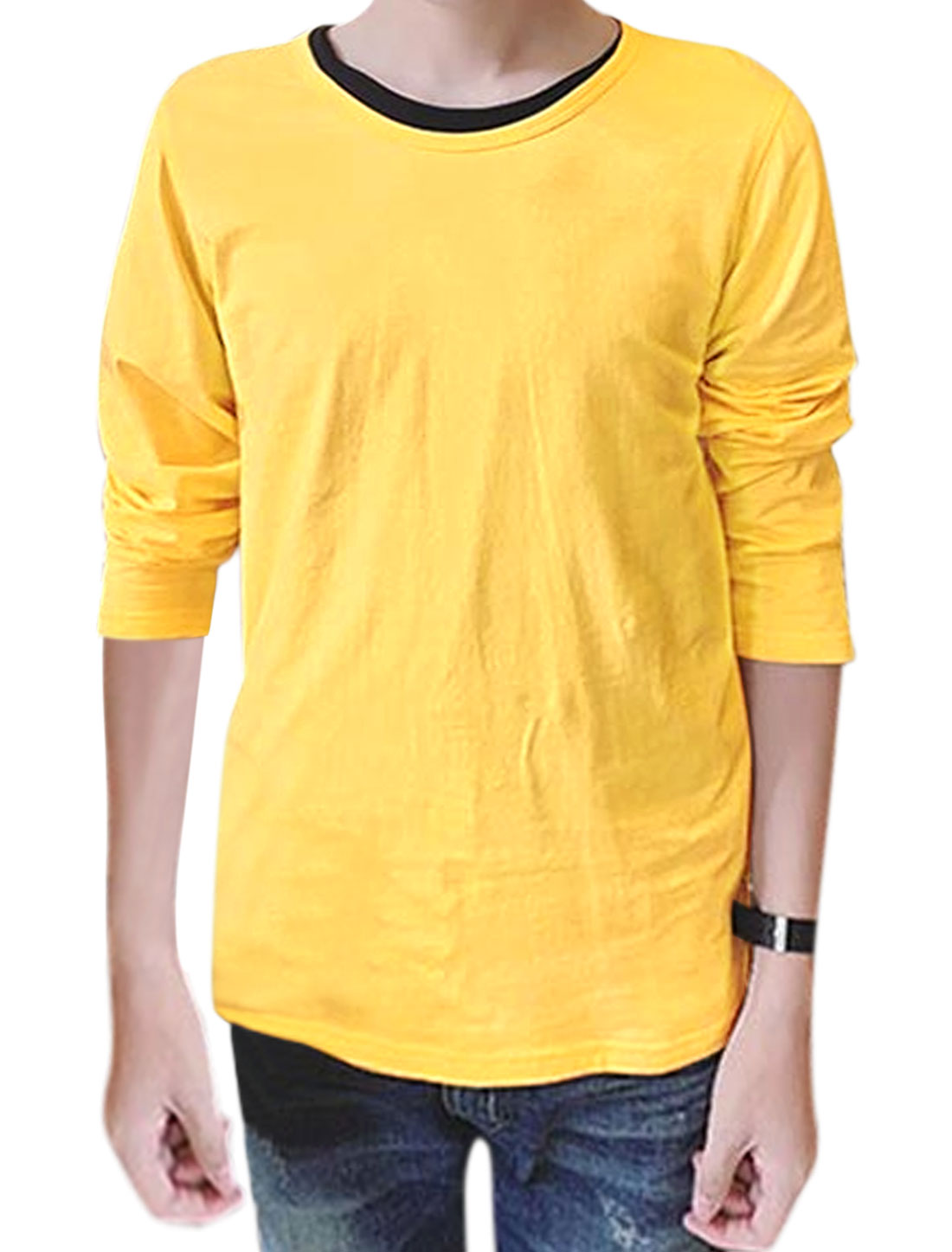 Men Round Neck Long Sleeves Slim Fit Tee Shirt Yellow M